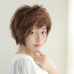 前髪あり ショート 似合わせ フェミニン ヘアスタイルや髪型の写真・画像