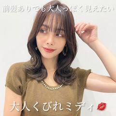 ナチュラル 韓国ヘア ミディアムヘアー セミロング ヘアスタイルや髪型の写真・画像