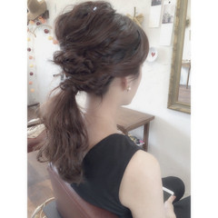 ヘアアレンジ セミロング ショート 結婚式 ヘアスタイルや髪型の写真・画像