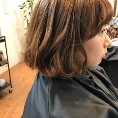 ハイライト ボブ ガーリー フリンジバング ヘアスタイルや髪型の写真・画像