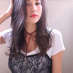 暗髪 グラデーションカラー ハイライト セミロング ヘアスタイルや髪型の写真・画像