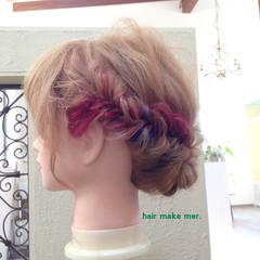 簡単ヘアアレンジ セミロング フェミニン ショート ヘアスタイルや髪型の写真・画像