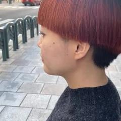 オレンジカラー グラデーションカラー ブリーチカラー モード ヘアスタイルや髪型の写真・画像