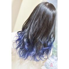 ブルーグラデーション ネイビーブルー ブルー ブルーラベンダー ヘアスタイルや髪型の写真・画像