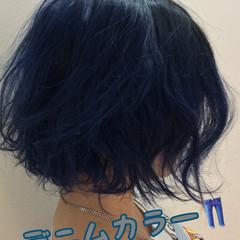 ブルー ブルーアッシュ ネイビーブルー アンニュイほつれヘア ヘアスタイルや髪型の写真・画像
