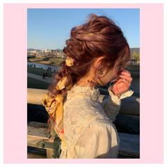 ロング 編みおろし ふわふわヘアアレンジ ヘアセット ヘアスタイルや髪型の写真・画像
