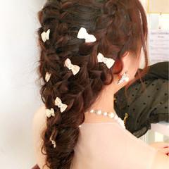 ディズニー ヘアアレンジ 編み込み ロング ヘアスタイルや髪型の写真・画像