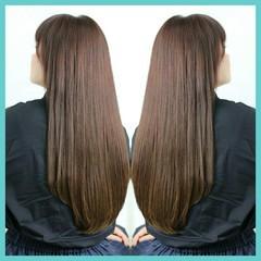 ストレート 前髪あり ロング パーマ ヘアスタイルや髪型の写真・画像