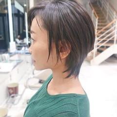 流し前髪 ショート マッシュウルフ ショートボブ ヘアスタイルや髪型の写真・画像