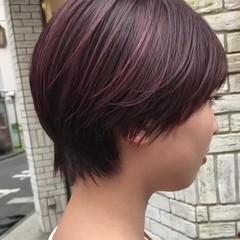 ショートヘア ショート ベリーピンク ストリート ヘアスタイルや髪型の写真・画像