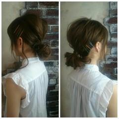 簡単ヘアアレンジ ハーフアップ ミディアム ショート ヘアスタイルや髪型の写真・画像