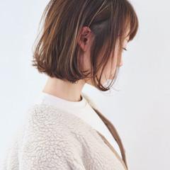 インナーカラー ボブ ハイライト アンニュイほつれヘア ヘアスタイルや髪型の写真・画像