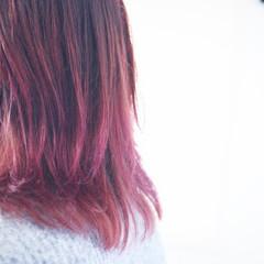 ラベンダーピンク グラデーションカラー ナチュラルグラデーション ミディアム ヘアスタイルや髪型の写真・画像