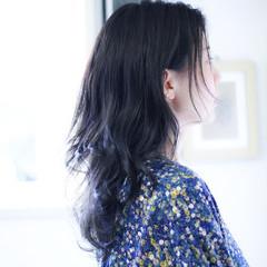 ネイビー ネイビーカラー ネイビーブルー ネイビーアッシュ ヘアスタイルや髪型の写真・画像