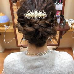 簡単ヘアアレンジ 結婚式 ミディアム ヘアアレンジ ヘアスタイルや髪型の写真・画像