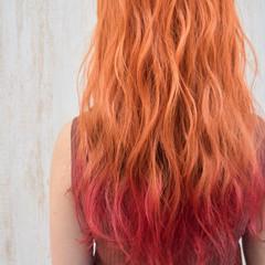 ガーリー 韓国風ヘアー 裾カラーオレンジ アプリコットオレンジ ヘアスタイルや髪型の写真・画像