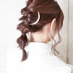 ヘアアレンジ 編み込み ミディアム デート ヘアスタイルや髪型の写真・画像