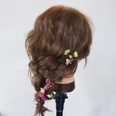 ヘアアレンジ セミロング ショート 簡単ヘアアレンジ ヘアスタイルや髪型の写真・画像