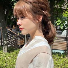 セルフヘアアレンジ ミディアム ナチュラル シースルーバング ヘアスタイルや髪型の写真・画像