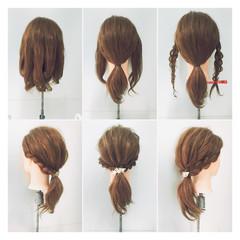 ミディアム ねじり ショート 簡単ヘアアレンジ ヘアスタイルや髪型の写真・画像