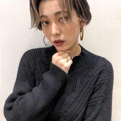韓国風ヘアー ナチュラル ハイライト ショート ヘアスタイルや髪型の写真・画像