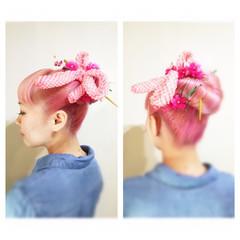 ヘアアレンジ 簡単ヘアアレンジ セミロング ショート ヘアスタイルや髪型の写真・画像