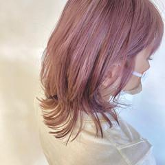 ナチュラル ラベンダー ピンク ミディアム ヘアスタイルや髪型の写真・画像