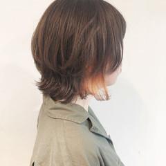 ボブ ガーリー イルミナカラー インナーカラーオレンジ ヘアスタイルや髪型の写真・画像