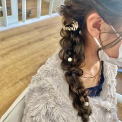結婚式ヘアアレンジ 編みおろしヘア ロング ヘアアレンジ ヘアスタイルや髪型の写真・画像