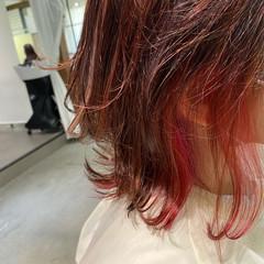 ガーリー ラベンダーピンク 派手髪 ボブ ヘアスタイルや髪型の写真・画像
