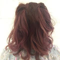 ヘアアレンジ フェミニン ハイライト モテ髪 ヘアスタイルや髪型の写真・画像