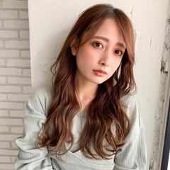 前髪あり 前髪パーマ ロング シースルーバング ヘアスタイルや髪型の写真・画像