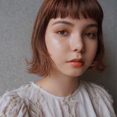 フェミニン ショートヘア 切りっぱなしボブ ボブ ヘアスタイルや髪型の写真・画像