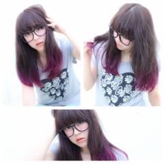 グラデーションカラー ストリート ガーリー パープル ヘアスタイルや髪型の写真・画像