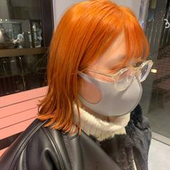 オシャレ オレンジベージュ ナチュラル ミニボブ ヘアスタイルや髪型の写真・画像
