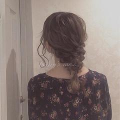 ゆるふわ 無造作 編み込み セミロング ヘアスタイルや髪型の写真・画像