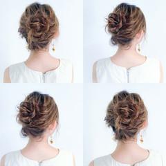フェミニン お団子 ルーズ 簡単ヘアアレンジ ヘアスタイルや髪型の写真・画像