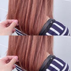 ミルクティーベージュ ブリーチカラー ピンクベージュ ベリーピンク ヘアスタイルや髪型の写真・画像