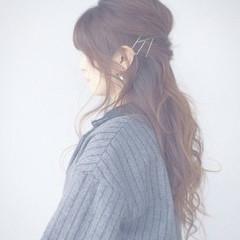 ヘアピン ヘアアレンジ くるりんぱ ゆるふわ ヘアスタイルや髪型の写真・画像
