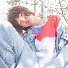 外国人風 レイヤーカット ストリート 外ハネ ヘアスタイルや髪型の写真・画像