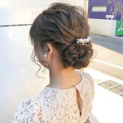 セミロング 結婚式 ナチュラル アンニュイほつれヘア ヘアスタイルや髪型の写真・画像