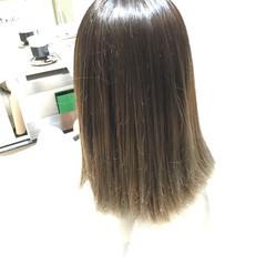 外国人風 暗髪 ミディアム アッシュ ヘアスタイルや髪型の写真・画像