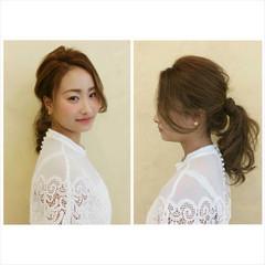ポニーテール ゆるふわ 波ウェーブ アップスタイル ヘアスタイルや髪型の写真・画像