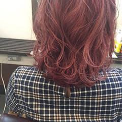 ガーリー ピンク ニュアンス ミディアム ヘアスタイルや髪型の写真・画像