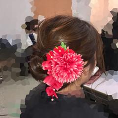 成人式 着物 フェミニン セミロング ヘアスタイルや髪型の写真・画像