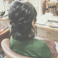 簡単ヘアアレンジ ヘアアレンジ ボブ ハーフアップ ヘアスタイルや髪型の写真・画像