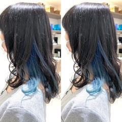 ミディアム ターコイズブルー ブルー インナーブルー ヘアスタイルや髪型の写真・画像