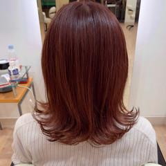 ミディアム ピンクブラウン フェミニン ピンクアッシュ ヘアスタイルや髪型の写真・画像