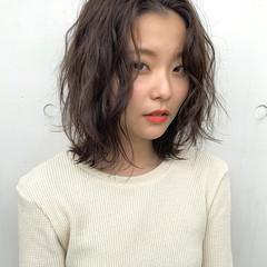 ロブ 地毛風カラー ナチュラル レイヤーボブ ヘアスタイルや髪型の写真・画像