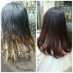 セミロング ガーリー グラデーションカラー 大人かわいい ヘアスタイルや髪型の写真・画像